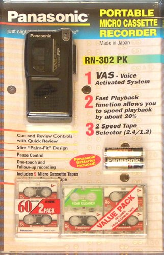 Panasonic RN-302 PK Portable Micro Cassette Recorder Value Pack