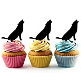 TA0511 Wolf Howling Silhouette Party Wedding Birthday Acrylic Cupcake Toppers Decor 10 pcs