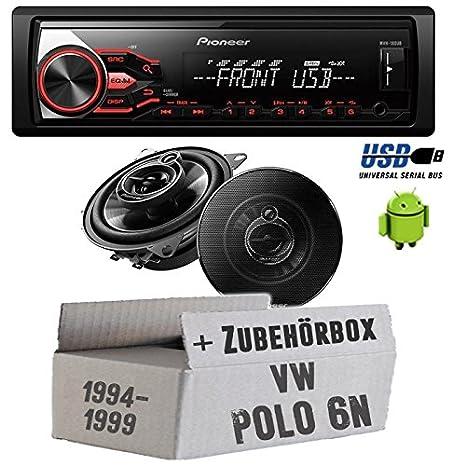 VW Polo 6N - Pioneer Radio MVH-180UB & Front 10cm Lautsprecher TS ...