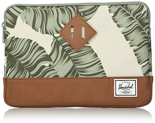 Herschel Supply Co. Men's Heritage Sleeve Ipad Air, Black Palm/Tan Synthetic Leather, One Size