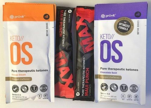 Pruvit Keto OS Ketones Drink Charged 10 Pack Bundle 2 Max Fruit Punch, 4 Orange Dream and 4 Chocolate Swirl