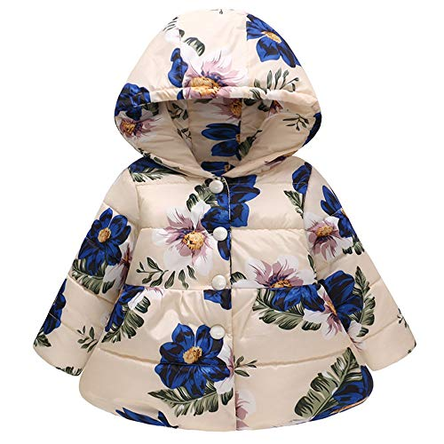 MOONHOUSE Toddler Kids Baby Girl Coat,Christmas Floral Printed Winter Hooded Warm Jacket Windproof Coat Party Outfits (18-24 Months, Beige) -