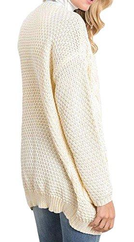 Manica Marca Giacca Vita Maglia Monocromo Pullover Bolawoo Ivory Mode Donna Tasche Giaccone Autunno Di Elegante Lunga Confortevole Baggy Anteriori Alta Maglieria Giorno Outerwear A PqpdH7