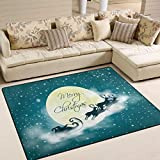 "Area Rugs 5'3"" x4' (63x48 Inches) Moon Night Amazing Merry Christmas Doormats Mat Personalized Soft Carpet Mat Living Dining Room Bedroom Home Decorative"