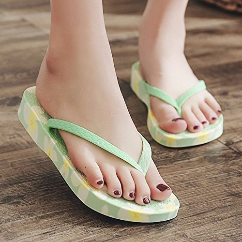 fashion flip shoes slope flops Summer beach and shoes LIUXINDA printed XZ British green fashion wYAqWEF
