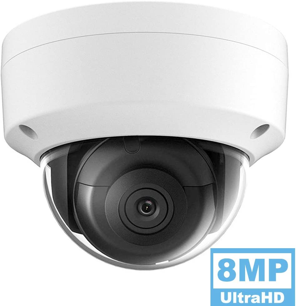 8MP 4K UltraHD Outdoor Security POE IP Camera OEM-DS-2CD2185FWD-I, 2.8Lens, 98ft Night Vision Dome Camera, Smart H.265 , SD Card Slot, WDR DNR, IP67 IK10, ONVIF