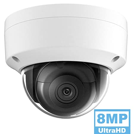 8MP UltraHD 4K PoE Turret IP Camera Outdoor, OEM DS-2CD2185FWD-I 2.8mm, 3840 2160, Up to 98ft Night Vision EXIR Network Security Dome Camera with H.265 H.265 , IP67, MicroSD Storage