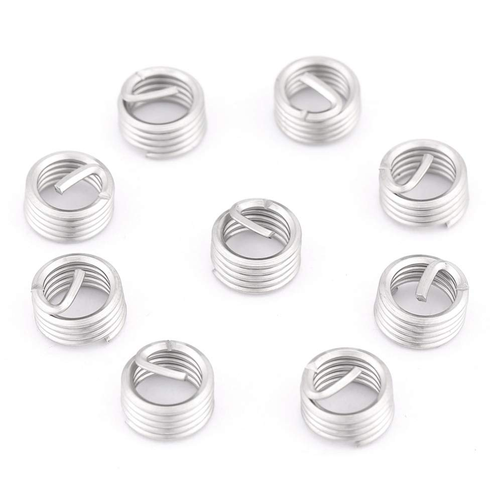Ochoos 100pcs//set Stainless Steel M8 Thread Inserts Wire Screw Sleeve Coiled Wire Helical Screw Thread Inserts M8 x 1.25 x 1D