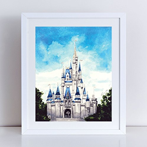 Cinderella's Castle Art Disney Painting Disney Princess Art Cinderella Print Walt Disney Art Tinkerbell Print Disney World Art Nursery Art Watercolor Painting Canvas Art Print Unframed