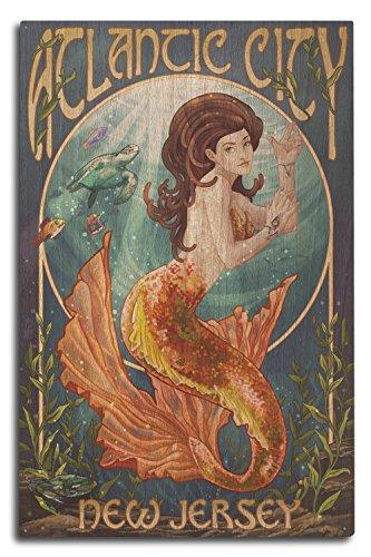 Lantern Press Atlantic City, New Jersey - Mermaid (10x15 Wood Wall Sign, Wall Decor Ready to Hang) ()