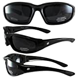 Birdz Eyewear Oriole Padded Motorcycle Glasses (Black Frame/Dark Smoke Lens)