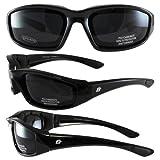 Birdz Eyewear Oriole Padded Motorcycle Glasses (Black Frame/Dark Smoke Lens)