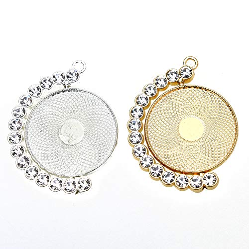 Monrocco 10pcs Rhinestone Moon Rotation Bezel Pendant Blanks Trays Cameo Setting Cabochon Dome for Crafting DIY Jewelry Making, Silver & Rose Gold