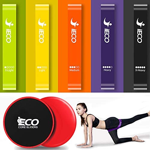 iECO Resistance Loop Exercise Bands – Gliders Exercise Discs Core Sliders – Fitness, Crossfit, Stretching, Strength Training, Physical Therapy, w Instruction Guide, Cool Towel Carry Bag