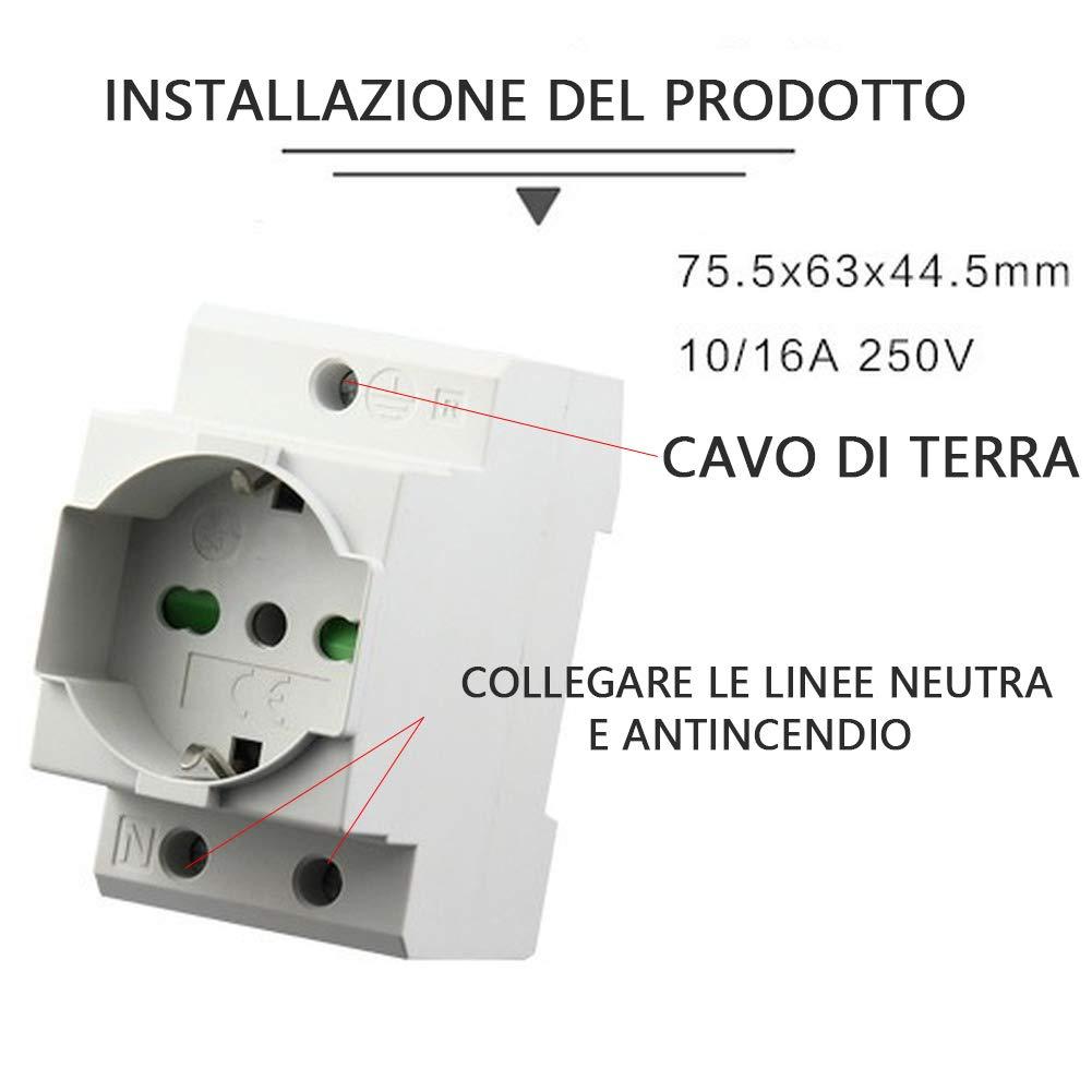 10A Presa da Muro Corrente Modulare Italiana Standard 250V Cassa in Nylon 5 Pc Binario Presa Tedesco 16A per Scatola di Distribuzione//Quadro Elettrico RHUK Presa Elettrica Universale 2500 W
