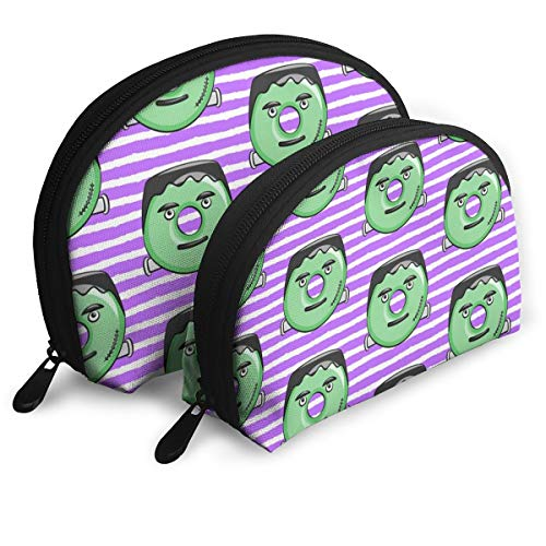 Frankenstein Donuts On Purple Stripes Halloween Travel Cosmetic Storage Assorted Portable Bags Clutch Pouch Gift 2Pcs for -
