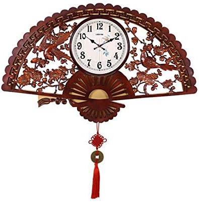 KEHUITONG 中国風の扇形のミュートレトロな壁掛け時計クリエイティブリビングルームクォーツ時計寝室の時計壁時計ブラウン (Color : Brown)