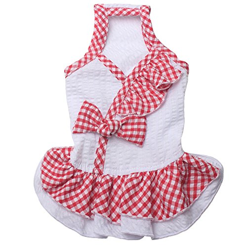 TONY HOBY Classic Plaid Dog Dresses Summer Pet Dog Princess Dresses For Small Dogs by TONY HOBY