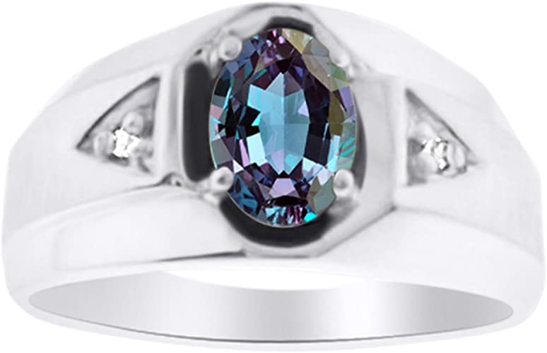 Mens Simulated Alexandrite /& Diamond Ring Sterling Silver or Yellow Gold Plated Band