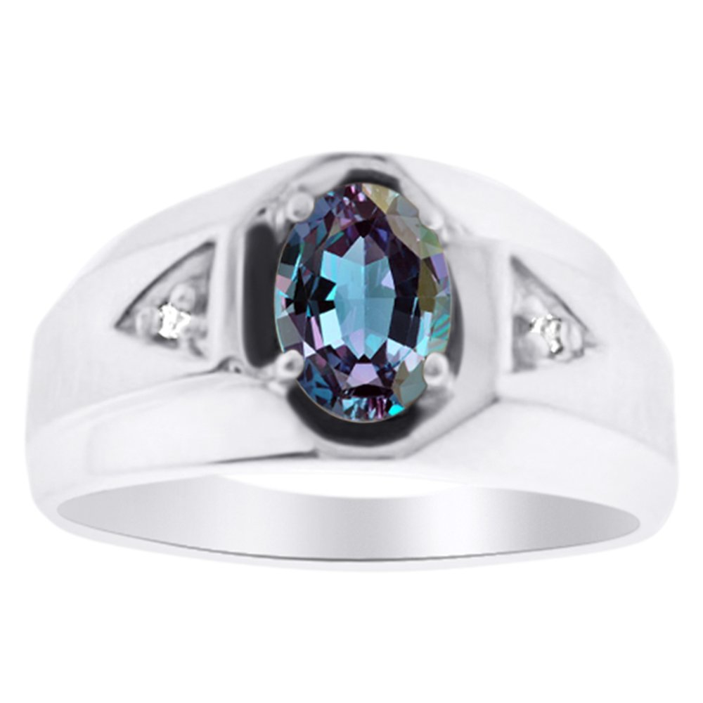 Rylos Mens Sapphire /& Diamond Ring Sterling Silver or Yellow Gold Plated Band