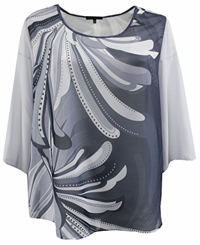 Dreamer P Plus Size Women Two Tone Color Chiffon Abstract Blouse Tee T Shirt Knit Top Grey Charcoal 1X (17024) ()