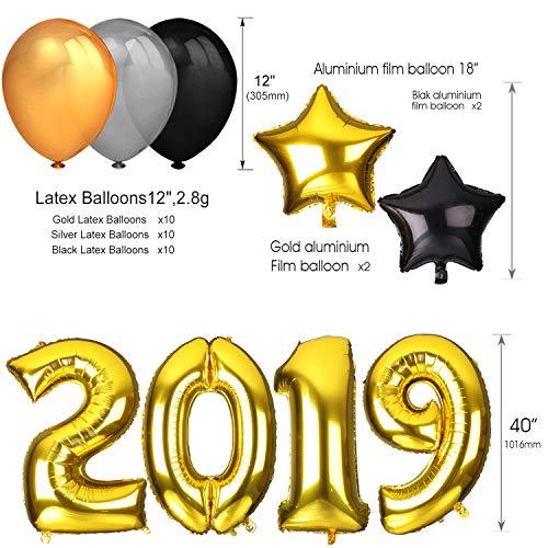 neujahr silvester party set 2019 deko howaf 40inch gold zahlen 2019 folien ebay. Black Bedroom Furniture Sets. Home Design Ideas
