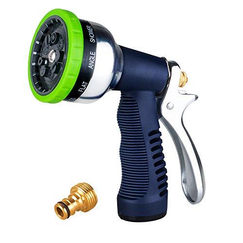 Garden Spray Nozzle, 9-Way Heavy Duty Spray Gun, Rear Trigger Design Hose Spray Nozzle, Anti-Slip Design, Bigger Nozzle Area Upgraded, Perfect for Watering Plants, Cleaning, Car Wash and Showing Pets