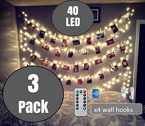 3 Packs BestCircle 40 LED Photo Clip String Lights 20 Ft, Remote Control,Free Wall Hooks, USB Powered, Warm White, Timer…