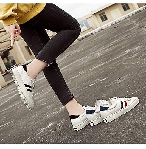 Zhijinli Encaje Tamaño Casual Calzado Plano Fondo De 7size Mujer Deportivo 7 Blancos 5 Zapatos Primavera wwURq