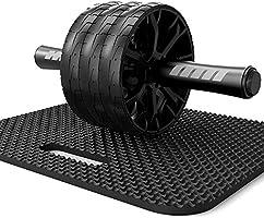RHYTHM FUN 腹筋ローラー 3輪 アブローラー エクササイズローラー マット付き 超静音 初心者 腹筋 筋トレグッズ 自宅トレーニング器具 体幹 ストレッチ ダイエット アブホイール エクササイズウィル スリムトレーナー 組み立て簡単