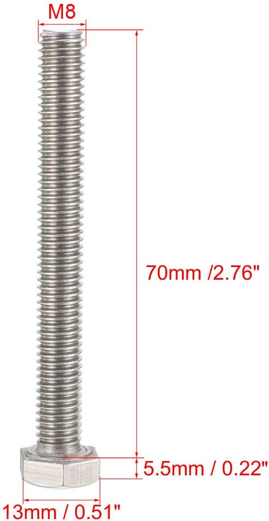 Sourcingmap Tornillos hexagonales M8 M8-1,25 x 35 mm UNC de cabeza hexagonal de acero inoxidable 304 20 unidades