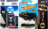 Classic TV Series Batman Set Hot Wheels Batmobile with Batman Arkham City Projector Keychain & Nano Mini Metal Figures character DC13 Retro Batman Die-Cast Miniature collectible toy bundle set