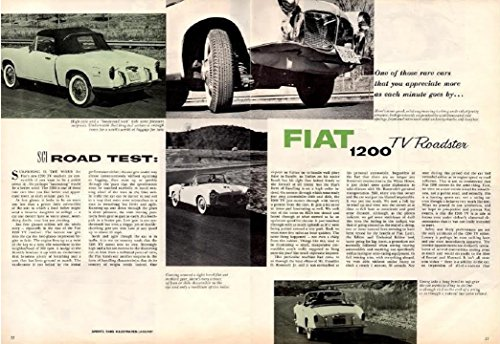 1959 FIAT 1200 TV ROADSTER VINTAGE NON-COLOR ROAD TEST - USA - GREAT ORIGINAL !! (SCI0159)