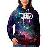 Twen-ty 21 One Pi-Lots Womens Fashion Galaxy Hoodie Sweatshirts Sports Pullover Sweaters Cotton Croptop Black
