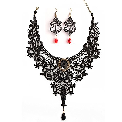 Black Lace Necklace Earrings Set,JoyTong Lace Pendant Choker and Eardrop (Red)