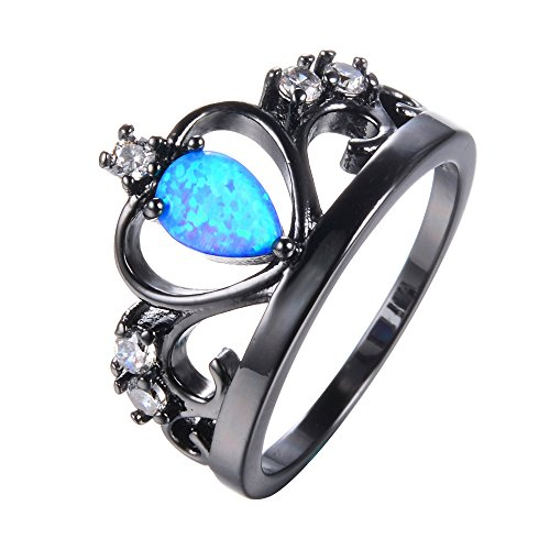 [PSRINGS Crown Blue Fire Opal Ring Vintage Black Gold Filled Jewelry Wedding Rings 9.0] (Ninja Turtle Nose Costume)