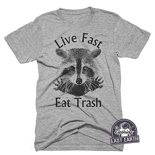 Live Fast and Eat Trash Funny Raccoon Beer Tacos Vintage Retro Men/'s T Shirt Tee