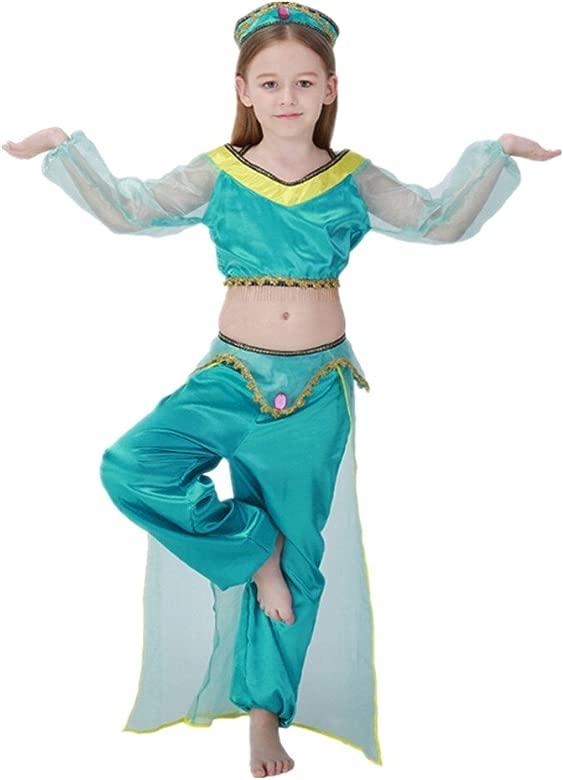 xiemushop Disfraz de Princesa Arabe para Niñas Cosplay Halloween Carnaval Disfraz de Bailarina