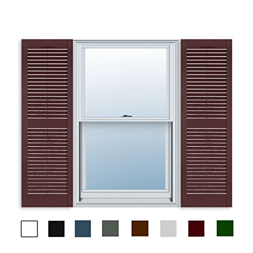 andard Louver Exterior Vinyl Window Shutters, Burgundy (Pair) ()