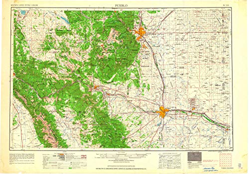 Pueblo CO topo map, 1:250000 Scale, 1 X 2 Degree, Historical, 1962, 22.2 x 31.6 in - Tyvek ()