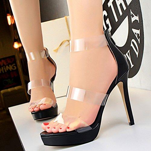Plataforma Stiletto Mujer Boda Sandalias Charol Peep Toe Tacones altos Zapatos De BIGTREE Negro