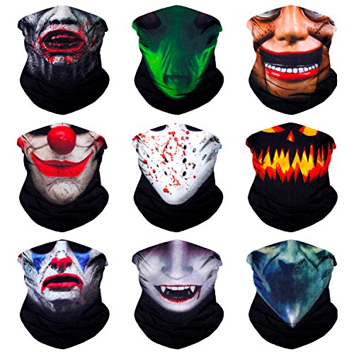 Sojourner 9PCS Seamless Bandanas Face Mask Headband Scarf Headwrap Neckwarmer & More – 12-in-1 Multifunctional for Music Festivals, Raves, Riding, Outdoors (9PCS Monster Series 1) -