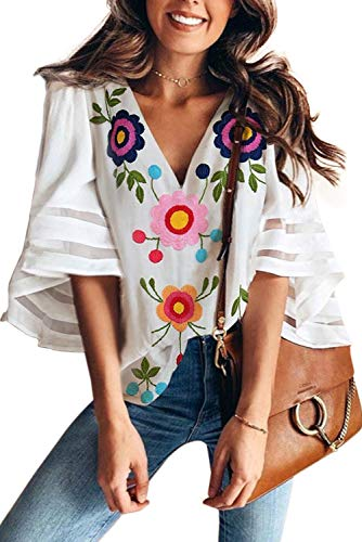 VIGVOG Women's Casual Mesh Chiffon Shirts V Neck Bell Sleeve Embroidered Patchwork Blouse Tops (S, White)