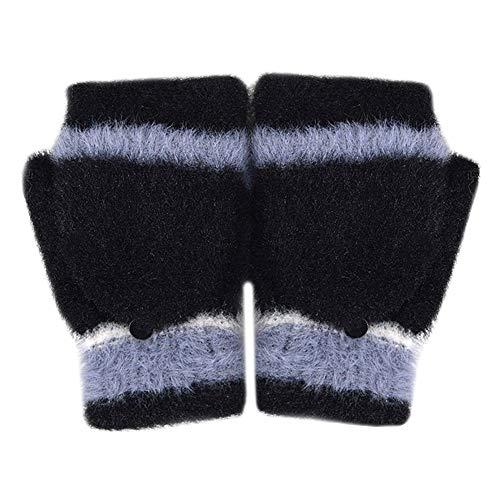 Adela Boutique Women Sweet Fuzzy Fleece Warm Winter Gloves Convertible Fingerless Flip Useful Mitten Black ()