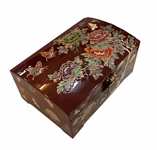 Mother of Pearl Peony Flower Design Jewelry Box Nacre Artian Handcrafted Jewellry Case by JMcore High Quality Jewelry Box