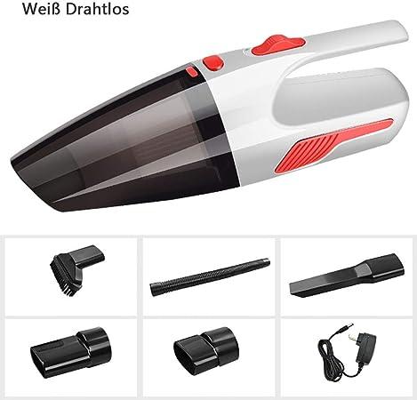 Batería aspirador del coche, con la luz portátil recargable estupenda 12V aspirador de iones de litio inalámbrico de mano con filtro HEPA lavable para el hogar limpieza / coche,Weiß wiederaufladbar: Amazon.es: Hogar