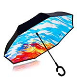 Double Layer Wind Proof,UV Proof Reverse Folding Inverted Umbrella Travel Umbrella with C Shape Handle and Carrying Bag-Colorful Clouds