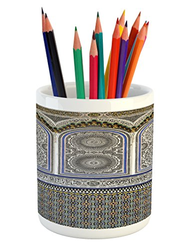 Ambesonne Arabian Pencil Pen Holder, Nostalgic Moroccan Architecture Stone Carving and Motifs Majestic Ottoman Empire, Printed Ceramic Pencil Pen Holder for Desk Office Accessory, Multicolor by Ambesonne