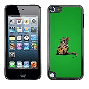 Qstar Arte & diseño plástico duro Fundas Cover Cubre Hard Case Cover para Apple iPod Touch 5 ( Rat Sweet Chees Lonely Rodent Cartoon Comic)