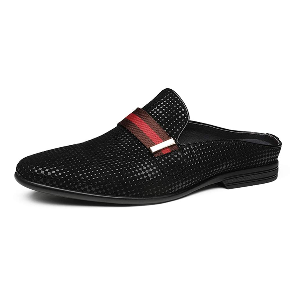 Black Sandals Motion Men's leather shoes outdoor walking slippers no-slip slippers casual fashion beach shoes wear-resistant anti-slip Beach shoes (color   Black, Size   44 US11)